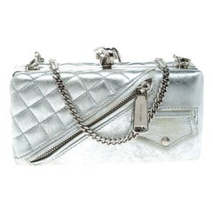 Dsquared2 Silver Leather Babe Wire Chain Clutch