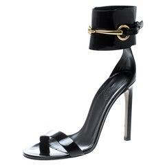 Gucci Black Patent Leather Horsebit Ankle Strap Sandals Size 37