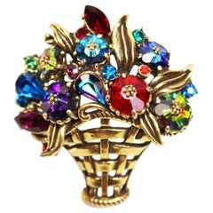 Weiss Floral Bouquet Basket Brooch