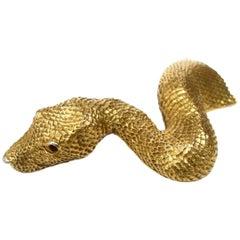 Christopher Ross 24k Gold Plated Serpent Belt Buckle circa 1980