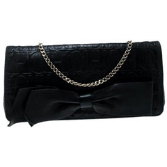 Carolina Herrera Black Monogram Embossed Bow Shoulder Bag