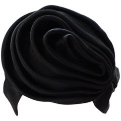 1960s Frank Olive Black Satin Rose Turban