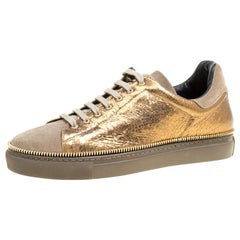 Alexander McQueen Dull Gold Crackled Gold Leather And Suede Zip Detail Sneakers