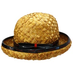 1960s Yves Saint Laurent Mixed Straw Bowler Hat