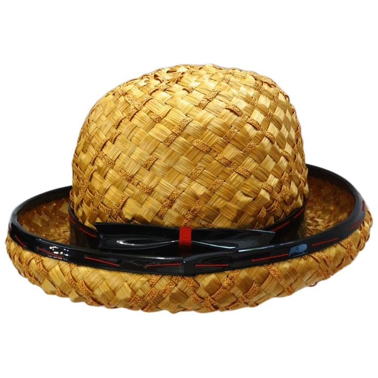 Yves Saint Laurent 1960s Mixed Straw Bowler Hat  For Sale