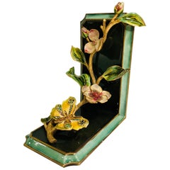 Exquisite Jay Strongwater Jeweled Enamel Dogwood Flowers and Butterfly Bookend