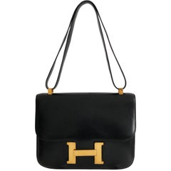 Hermes Constance Bag 23cm Black Box Leather Vintage 80s