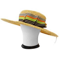 Yves Saint Laurent 1960s Wide Brim Straw Boater Hat