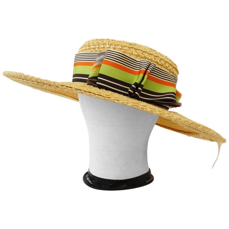 776f51a7f1ca49 1960s Yves Saint Laurent Wide Brim Straw Boater Hat For Sale at 1stdibs