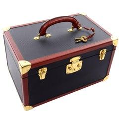 Vintage Bottega Veneta Black Cosmetic Train Case W/ Tan Leather Trim Keys & Bag