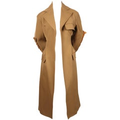 CELINE by PHOEBE PHILO tan runway coat with leather patches & half belt - NEW