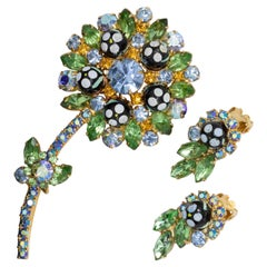 Juliana DeLizza & Elster Polka Dot Bead Brooch and Clip On Earrings, Green