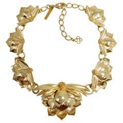 Oscar de la Renta Bold Gold Petal Flower Link Necklace