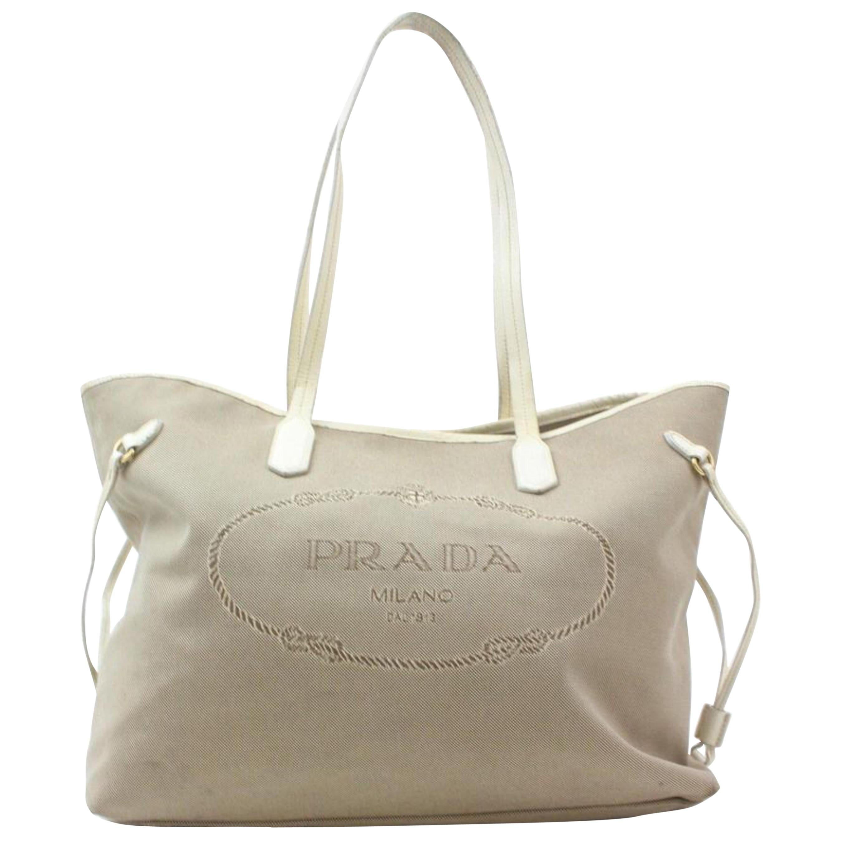 3fb159ad5256 Prada Taupe Beige Logo Shopper 869040 Grey Canvas Tote For Sale at 1stdibs