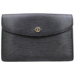 Louis Vuitton Montaigne Pochette Noir Envelope 868807 Black Leather Clutch