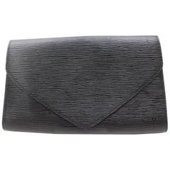 Louis Vuitton Pochette Noir Art Deco Envelope 868802 Black Leather Clutch
