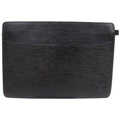 Louis Vuitton Pochette Noir Homme Zip Pouch 868818 Black Leather Clutch