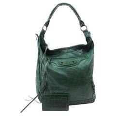 Balenciaga Day Hobo 868726 Green Leather Shoulder Bag
