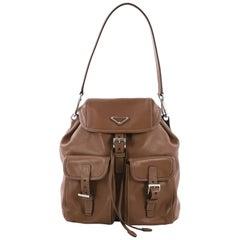 Prada Double Pocket Shoulder Bag Soft Calfskin Medium