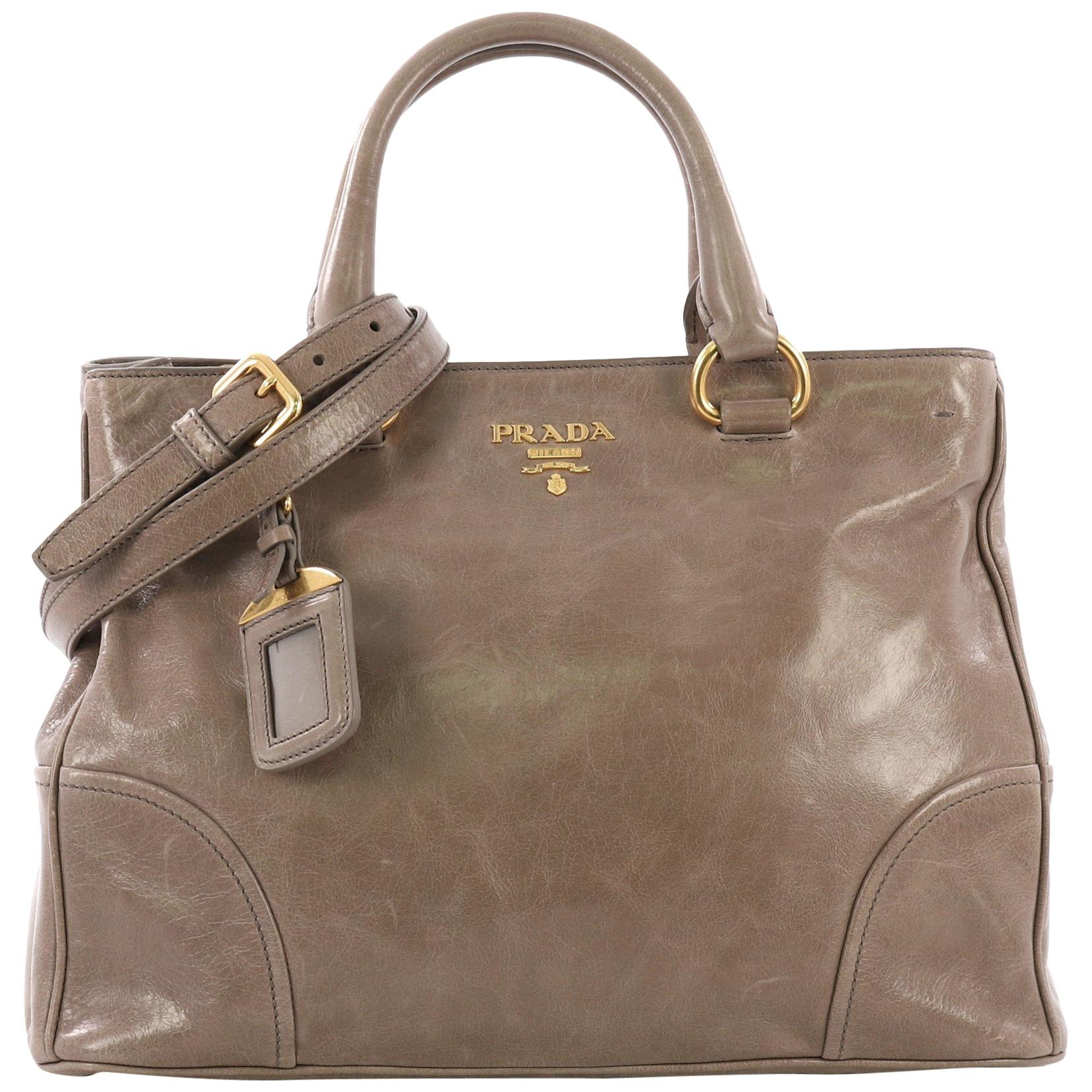 74ec5974a78b Prada Green Saffiano Lux Leather Large Double Zip Tote For Sale at 1stdibs