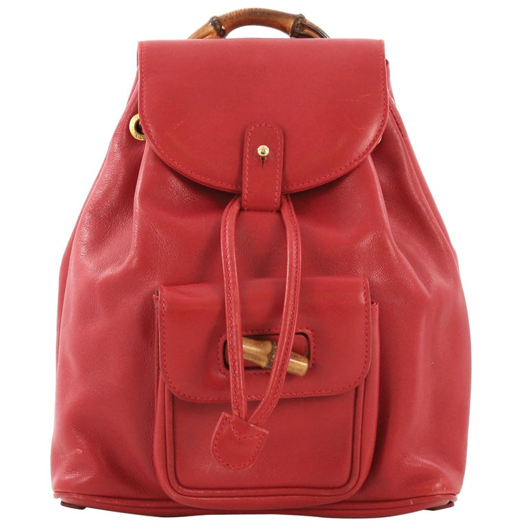 14aa2ce031fc Gucci Vintage Bamboo Backpack Leather Mini For Sale at 1stdibs