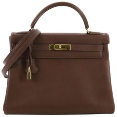 Hermes Kelly Handbag Marron Fonce Courchevel with Gold Hardware 32