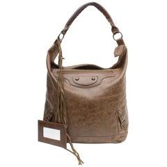 Balenciaga The Day Hobo 868317 Brown Leather Shoulder Bag