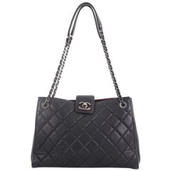 Chanel CC Lock Accordion Tote Quilted Caviar Large