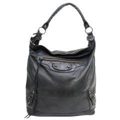 Balenciaga The Day Hobo 868349 Black Leather Shoulder Bag
