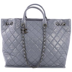 Chanel CC Charm Drawstring Tote Quilted Crinkled Patent Large