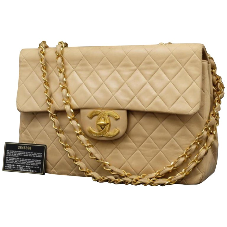 c871fb2a62b1 Chanel Classic Flap Extra Large Quilted Lambskin Maxi 234015 Beige Shoulder  Bag For Sale