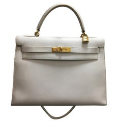 Vintage Hermes Kelly 32 White Leather Bag