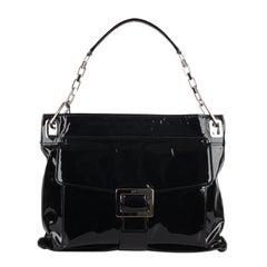 Roger Vivier Black Patent Leather Metro Shoulder Bag