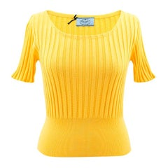 Prada Yellow Fitted Knitted Tshirt US 0-2