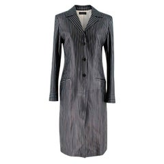 Gucci Vintage Pinstripe Leather Coat US 6