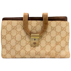 45b2b9caeaf Gucci GG Monogram and Beige Leather Wallet with Zip Pocket and Box ...