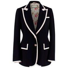 Gucci Black & White Stretch Cady Blazer US 4