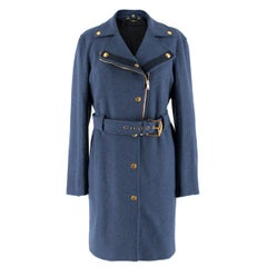 Gucci Blue Wool Belted Coat US 8