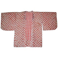 Japanese Silk Haori Showa Period Jacket Cinnabar Red and Grey Shibori Dyed