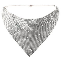 Paco Rabanne Draped Silver Mesh Metal Necklace