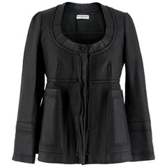 Balenciaga Empire-Waist Black Leather Jacket US 0-2