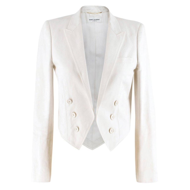 Saint Laurent Runway cropped white blazer US 4 For Sale