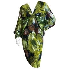 Galanos for I Magnin Green Silk Floral Cocktail Dress with Angel Wing Sleeves