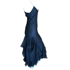 John Galliano 1990's Bias Cut Black Slip Dress with Flamenco Ruffles