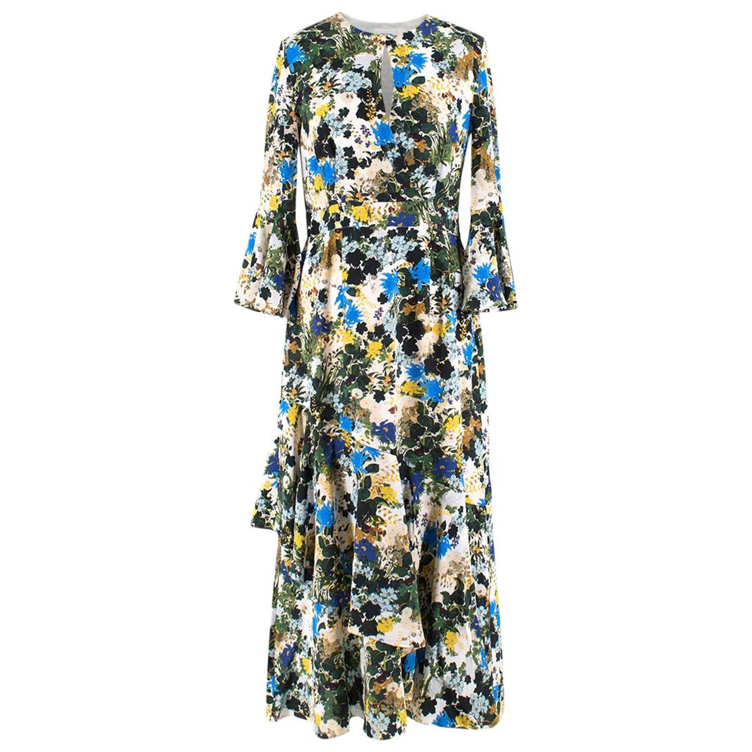 1d7b6e56da34 Erdem Florence Mariko Meadow-print silk dress US 6 at 1stdibs