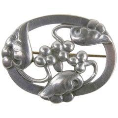 Georg Jensen Art Nouveau Grape Sterling Silver Brooch Pin Estate Fine Jewelry