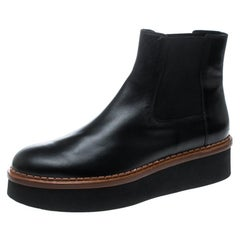 Tod's Black Leather Platform Ankle Boots Size 41