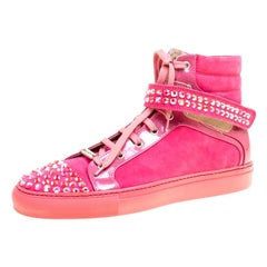 Le Silla Pink Suede And Patent Leather Crystal Embellished Cap Toe High Top Snea