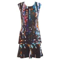 McQ by Alexander McQueen Blurry Lights Printed Jersey Sleeveless Peplum Dress S