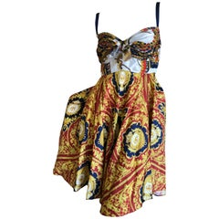 D&G Dolce & Gabbana Romantic Silk Scarf Fabric Baroque Print Cocktail Dress